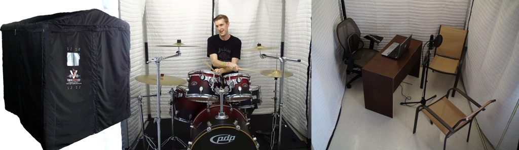 Practicing drums in Soundproof booth SPB66
