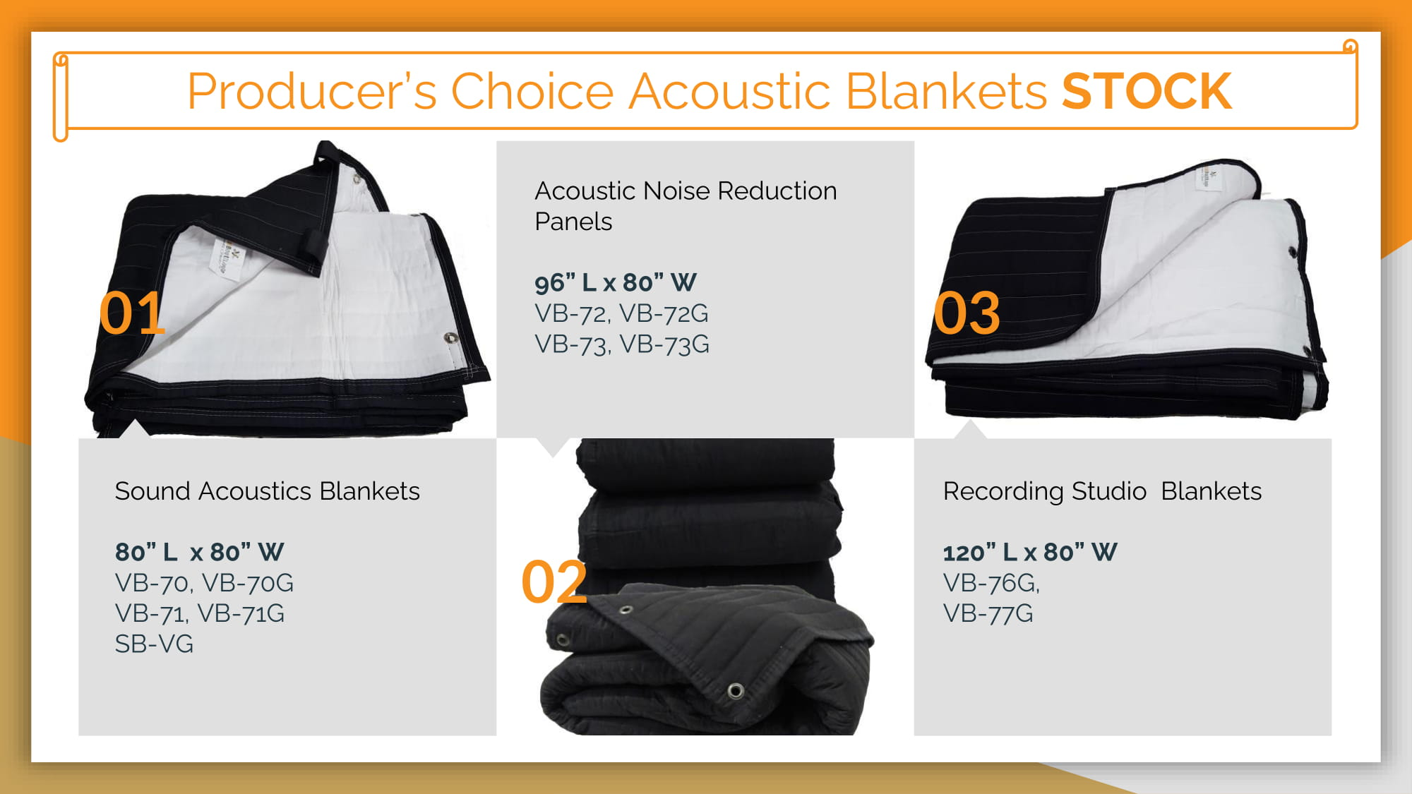 Producer's Choice Acoustic Blankets STOCK