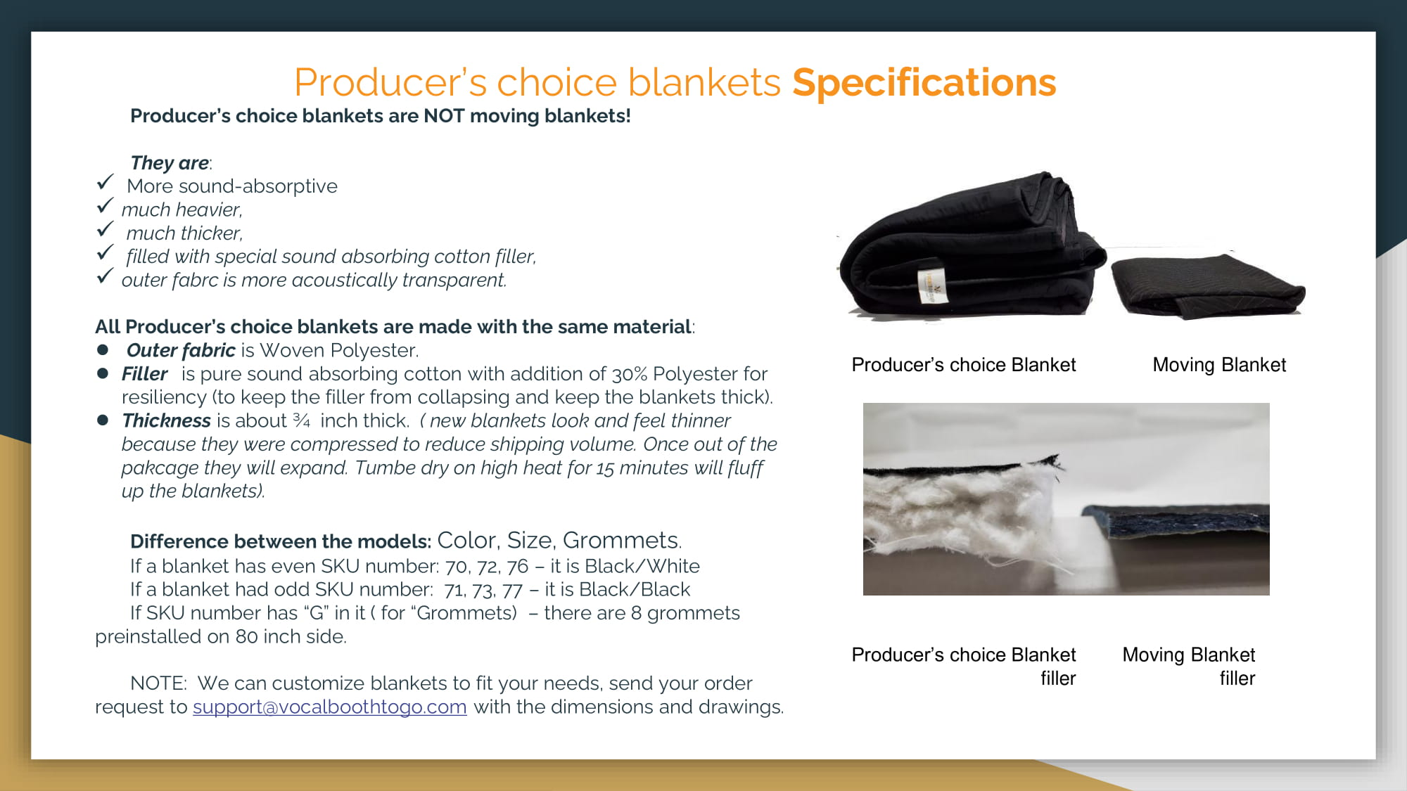 Producer's choice blankets Specifications
