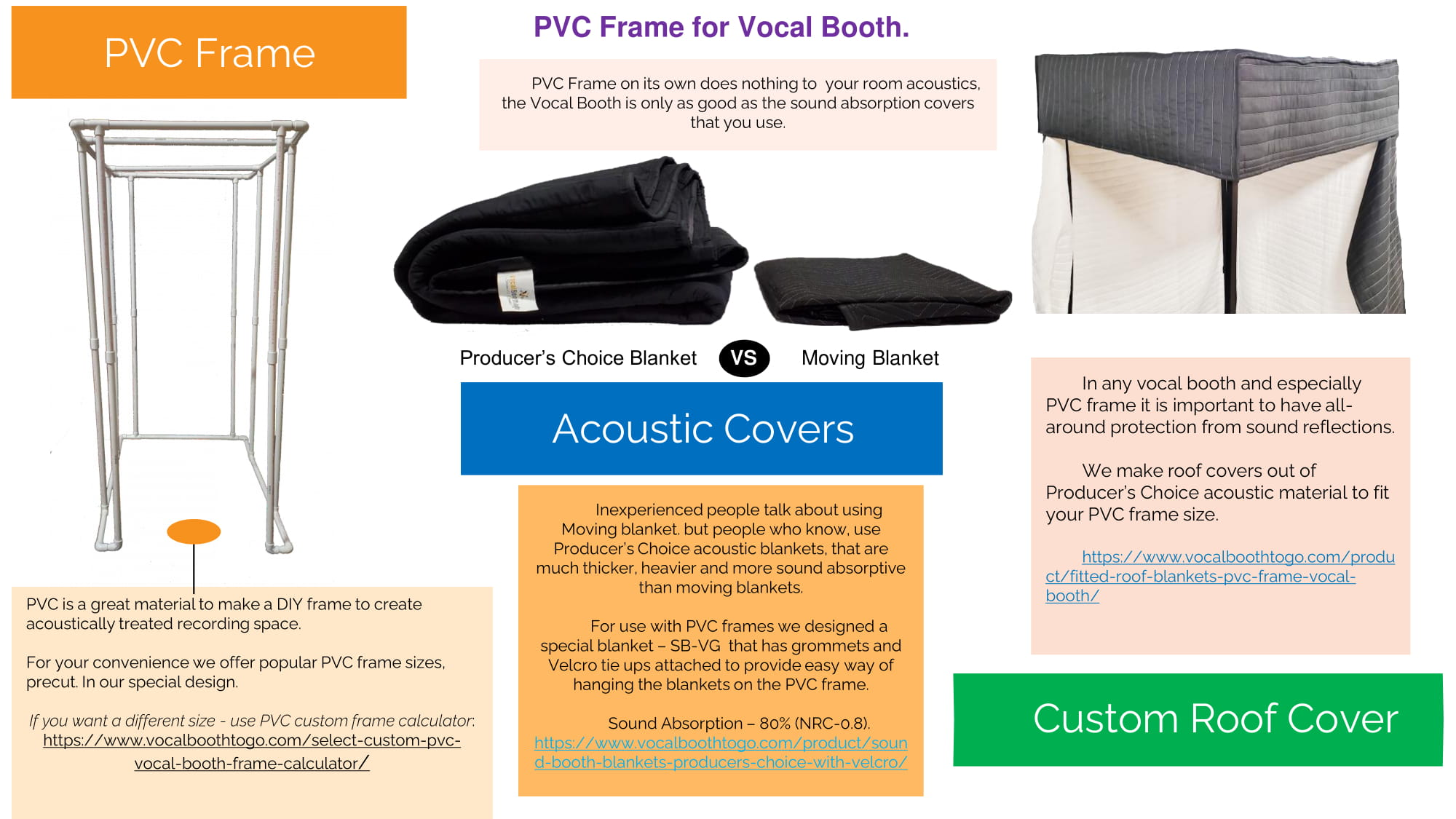 PVC Frame for Vocal Booth, Acoustic Covers Custom and Custom Roof Cover